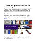 Why include promotional gifts in your next company budget?