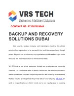 Data Backup and Disaster recovery solutions in Dubai