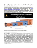 How to Make Your Product Stand out with Trash Dumpster Rental Services in San Antonio