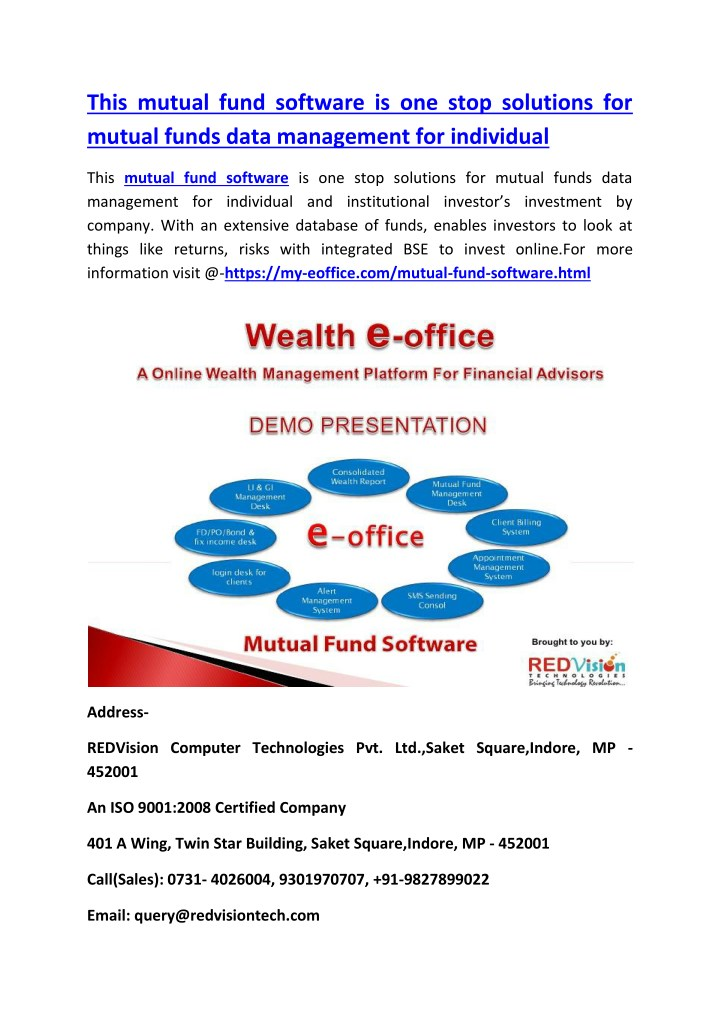this mutual fund software is one stop solutions n.