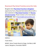 Rosemount Play School Franchise in Bangalore and Delhi