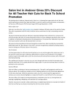 Salon Invi in Andover Gives 20% Discount for All Teacher Hair Cuts for Back To School Promotion