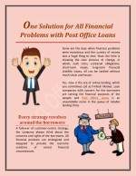 One Solution for All Financial Problems with Post Office Loans