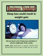 Sleep loss could result in weight gain