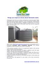 Things you require to Know about Rainwater tanks