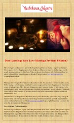 Does Astrology have Love Marriage Problem Solution?