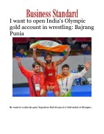 I want to open India's Olympic gold account in wrestling: Bajrang Punia