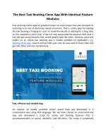 The Best Taxi Booking Clone App With Identical Feature Modules