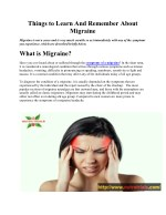 Things to Learn And Remember About A Migraine