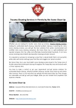 Trauma Cleaning Services in Florida by Bio Scene Clean Up