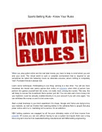 Sports Betting Rule - Know Your Rules