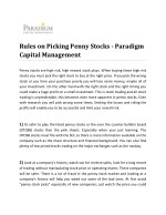 Rules on Picking Penny Stocks - Paradigm Capital Management