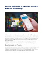 How To Mobile App Is Important To Boost Business Productivity?