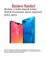 Realme 2 Mobile Phone India launch Today: Watch livestream, know specs, features & price