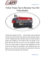 Follow These Tips to Revamp Your OId Press Brakes