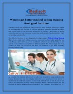 Want to get better medical coding training from good institute