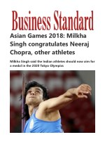 Asian Games 2018: Milkha Singh congratulates Neeraj Chopra, other athletes