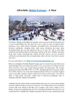 Affordable Shimla Packages - A Must