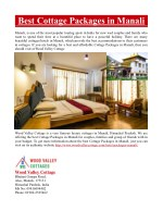 Best Cottage Packages in Manali