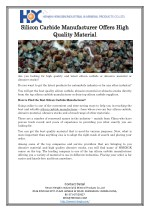 Silicon Carbide Manufacturer Offers High Quality Material