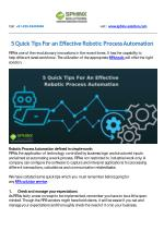 5 Quick Tips For an Effective Robotic Process Automation