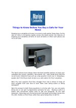 Things to Know Before You Buy a Safe for Your Home