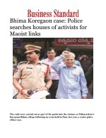 Bhima Koregaon case: Police searches houses of activists for Maoist links