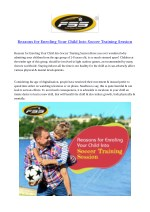Reasons for Enroling Your Child Into Soccer Training Session