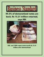 99.3% of Demonetised Notes Are Back; Rs 15.31 Trillion Returned, Says RBI