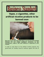 Vapes, e-cigarettes, other artificial nicotine products to be banned soon