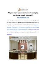 Why do most customized cosmetics display stands use acrylic materials?