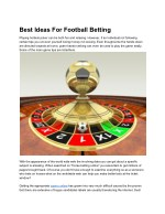 Best Ideas For Football Betting