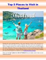Top 5 Places to Visit in Thailand