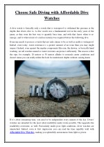 Choose Safe Diving with Affordable Dive Watches