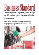 Diesel up by 15 paise, petrol up by 13 paise; govt hopes rally is temporar