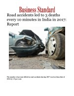 Road accidents led to 3 deaths every 10 minutes in India in 2017: Report