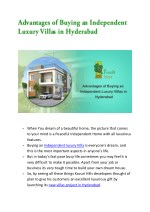 Advantages of Buying an Independent Luxury Villas in Hyderabad