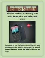 Reliance JioPhone 2 Sale Today at 12 Noon Know Price How to Buy and More