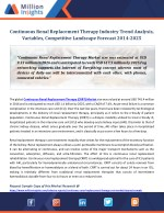 Continuous Renal Replacement Therapy Industry Trend Analysis, Variables, Competitive Landscape Forecast 2014-2025