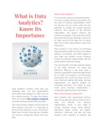 What is Data Analytics? Know Its Importance