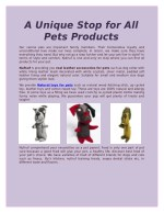 A Unique Stop for All Pets Products
