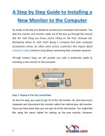 A Step by Step Guide to Installing a New Monitor to the Computer