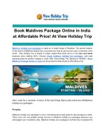 Book Maldives Package Online in India at Affordable Price! At View Holiday Trip