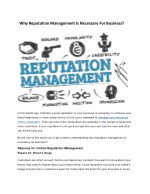 Why Reputation Management Is Necessary For Business?