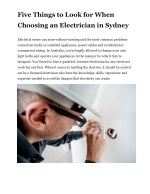 Five Things to Look for When Choosing an Electrician in Sydney