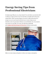 Energy Saving Tips from Professional Electricians