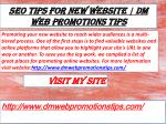 SEO Tips For New Website DM Web Promotions Tips