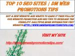 Top 10 SEO Sites  DM Web Promotions Tips