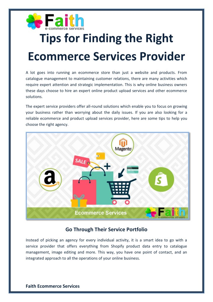 tips for finding the right ecommerce services n.