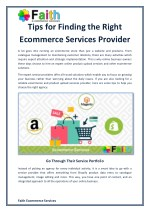 Tips for Finding the Right Ecommerce Services Provider